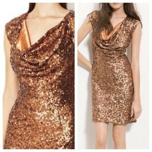 French Connection Bronze Gold Sequined Mini Dress